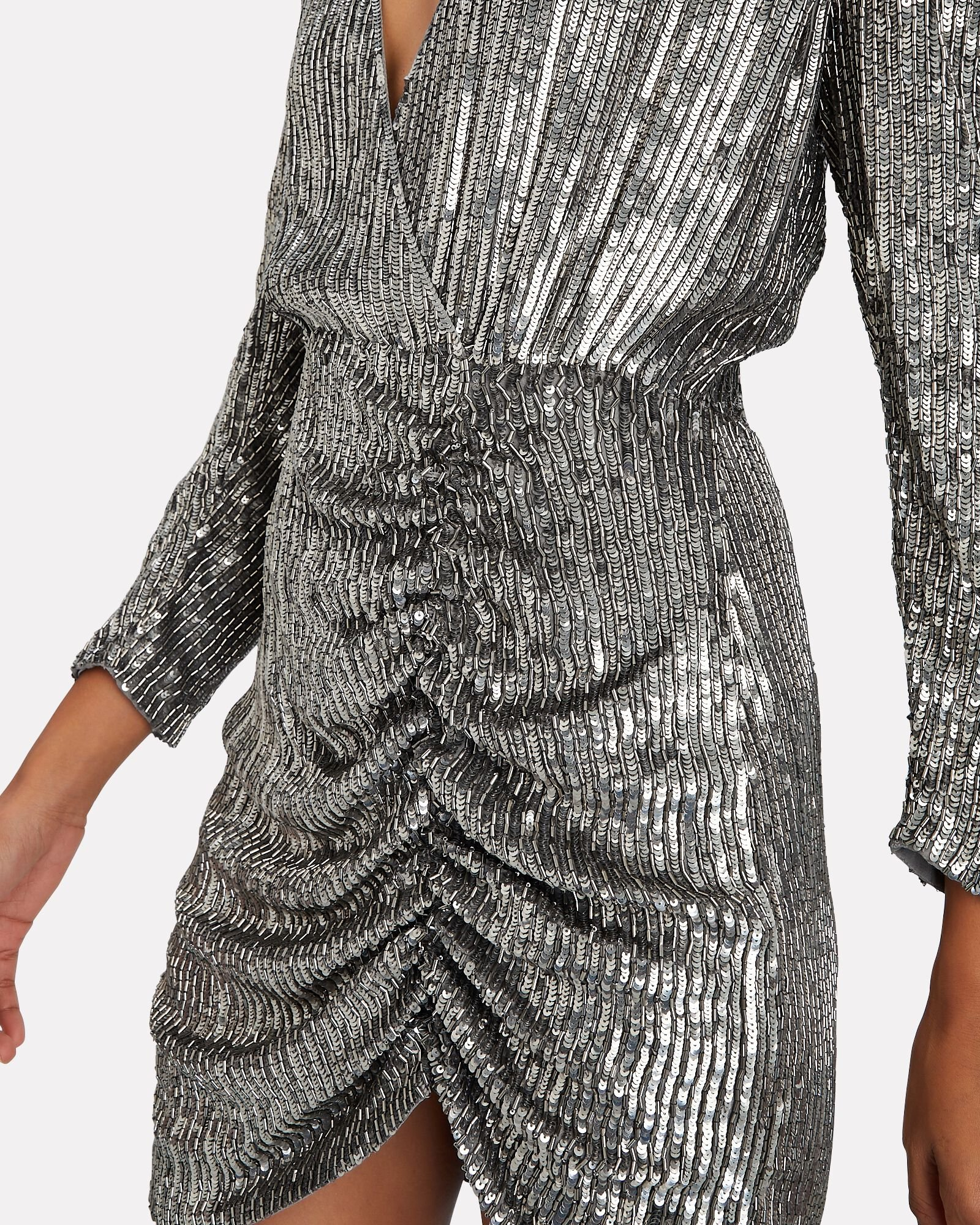 Stacey Sequin Ruched Mini Dress, SILVER, hi-res