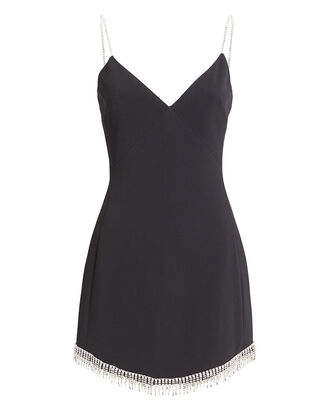 Embellished Crepe Mini Dress, BLACK, hi-res