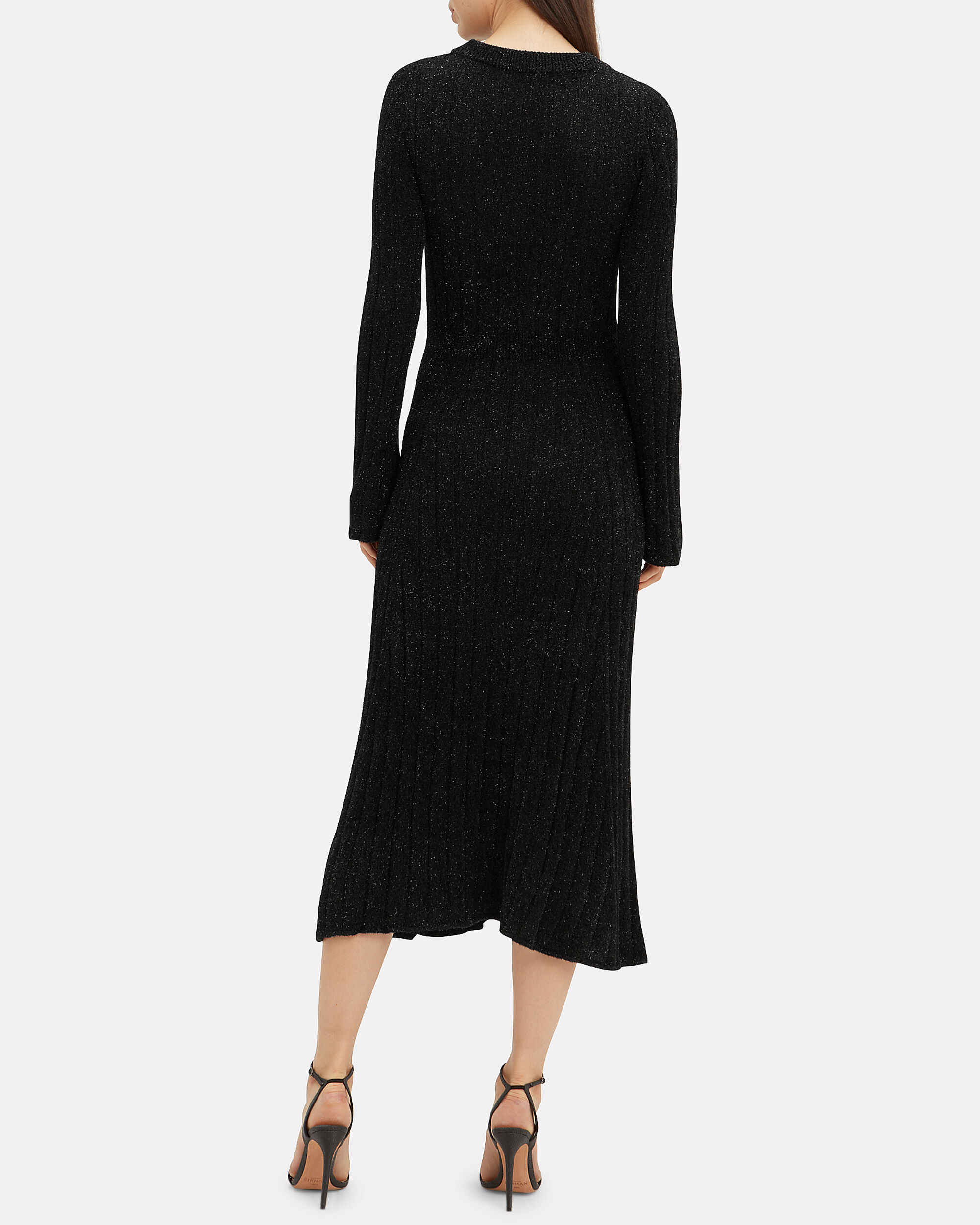 Shimmer Knit Midi Dress, BLACK, hi-res