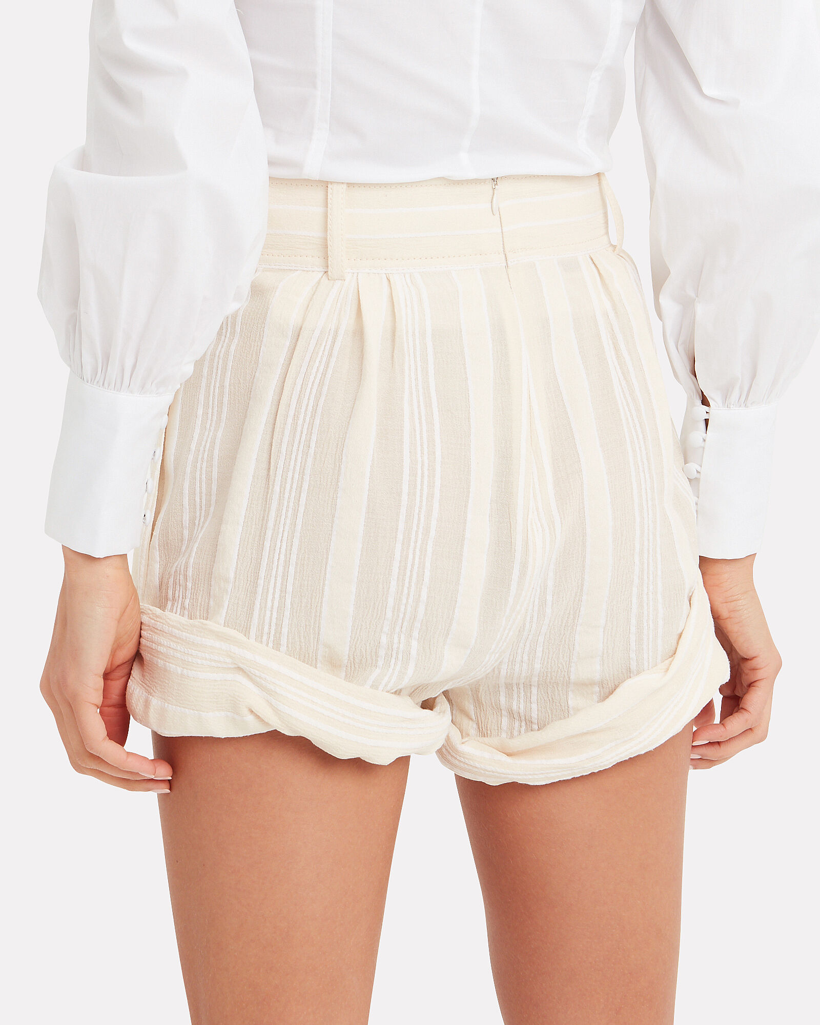 Striped High-Rise Shorts, IVORY, hi-res