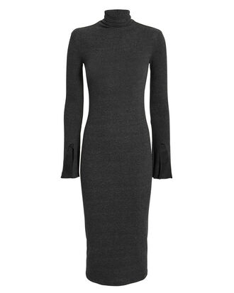 Split Sleeve Turtleneck Dress, GREY, hi-res