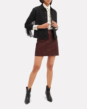 Troy Snake Print Leather Skirt, RED, hi-res