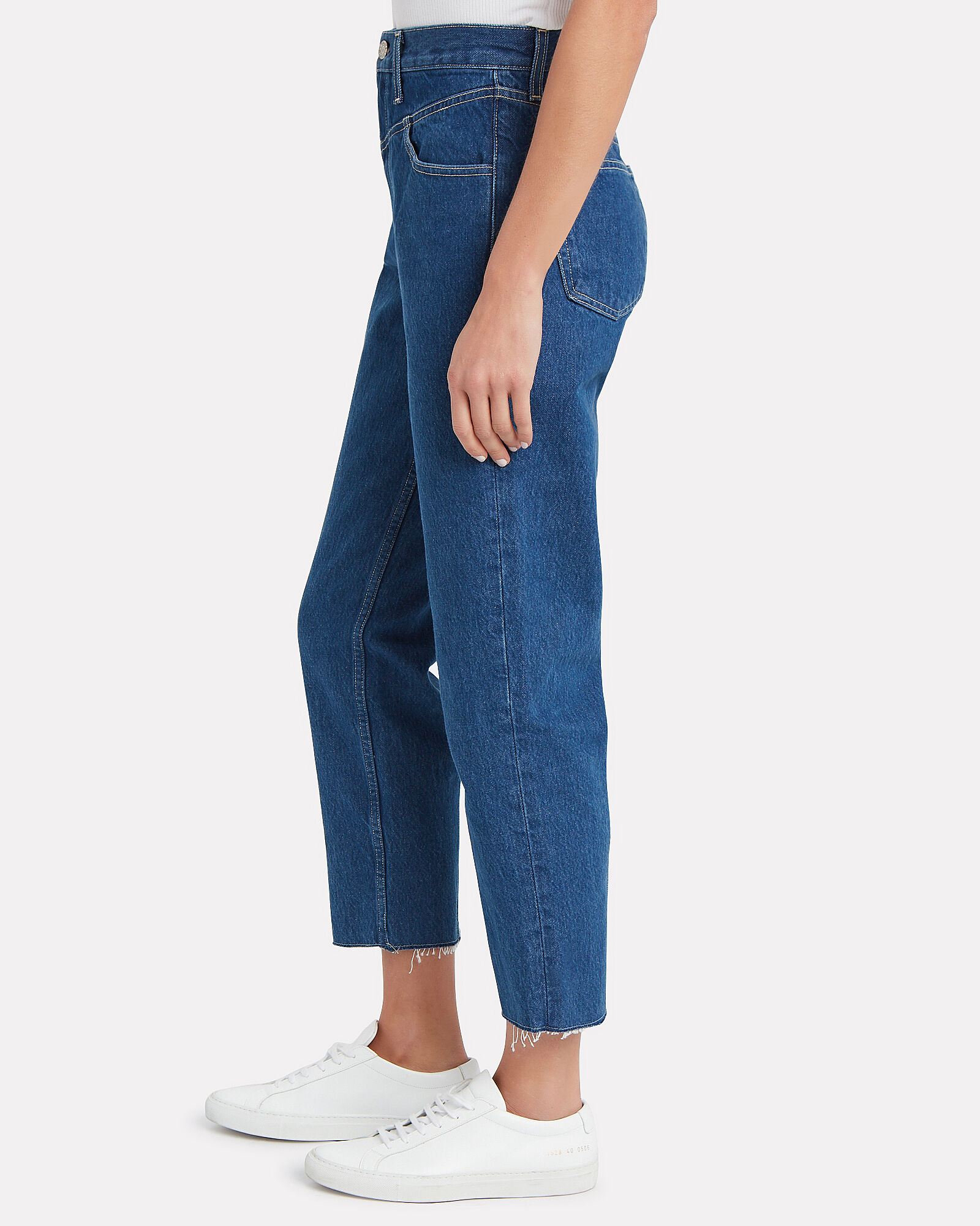 Heidi Straight Cropped Yoke Jeans, MEDIUM WASH DENIM, hi-res