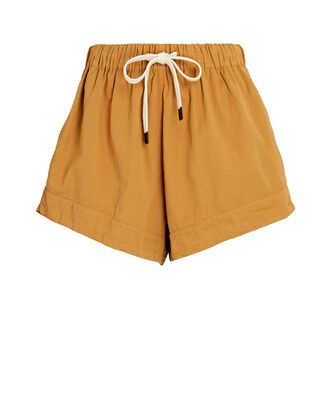 Cotton Twill Shorts, MUSTARD, hi-res