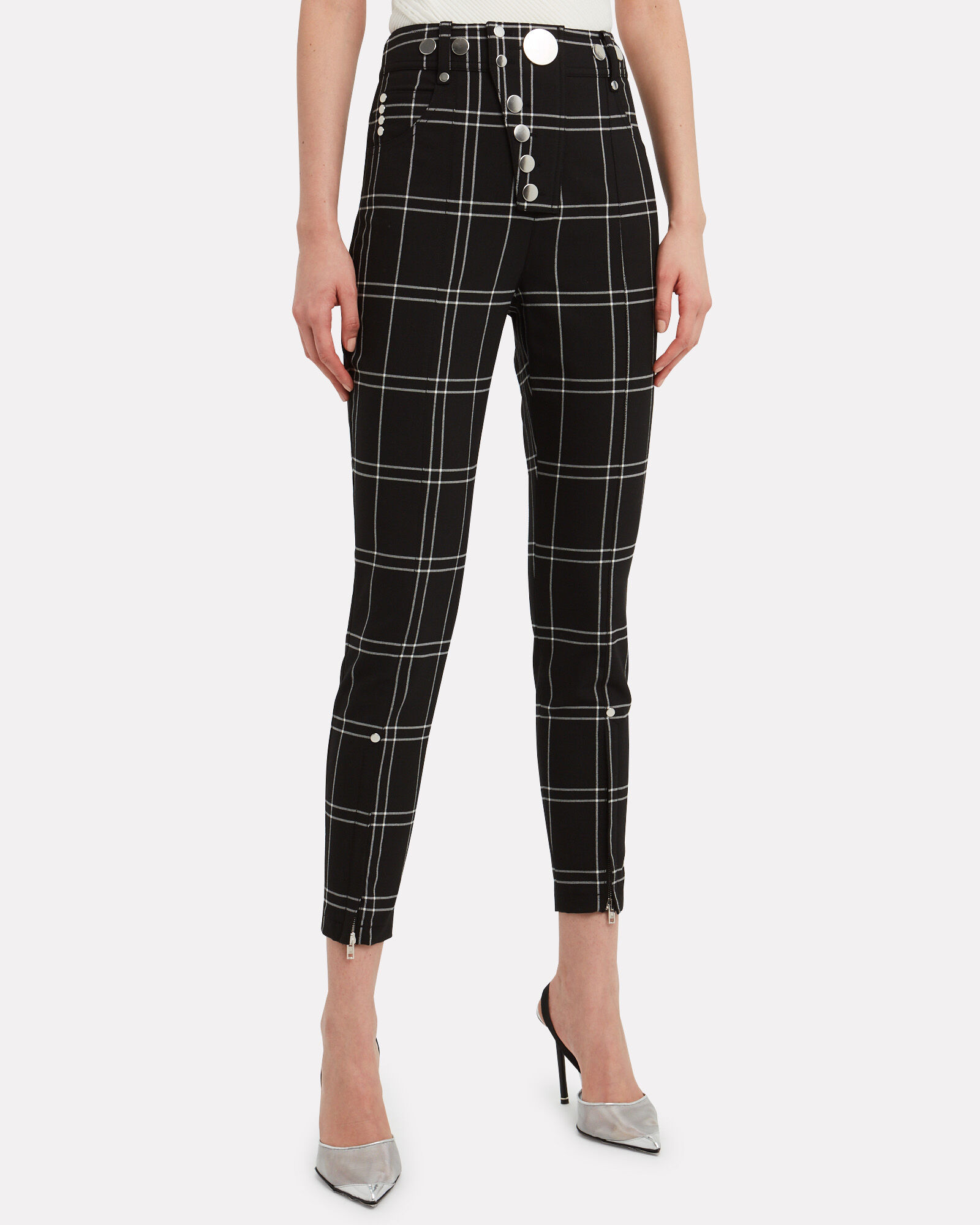 Snap Button Trousers, BLK/WHT, hi-res