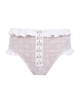 Elle Lace High-Rise Bikini Bottom, WHITE, hi-res