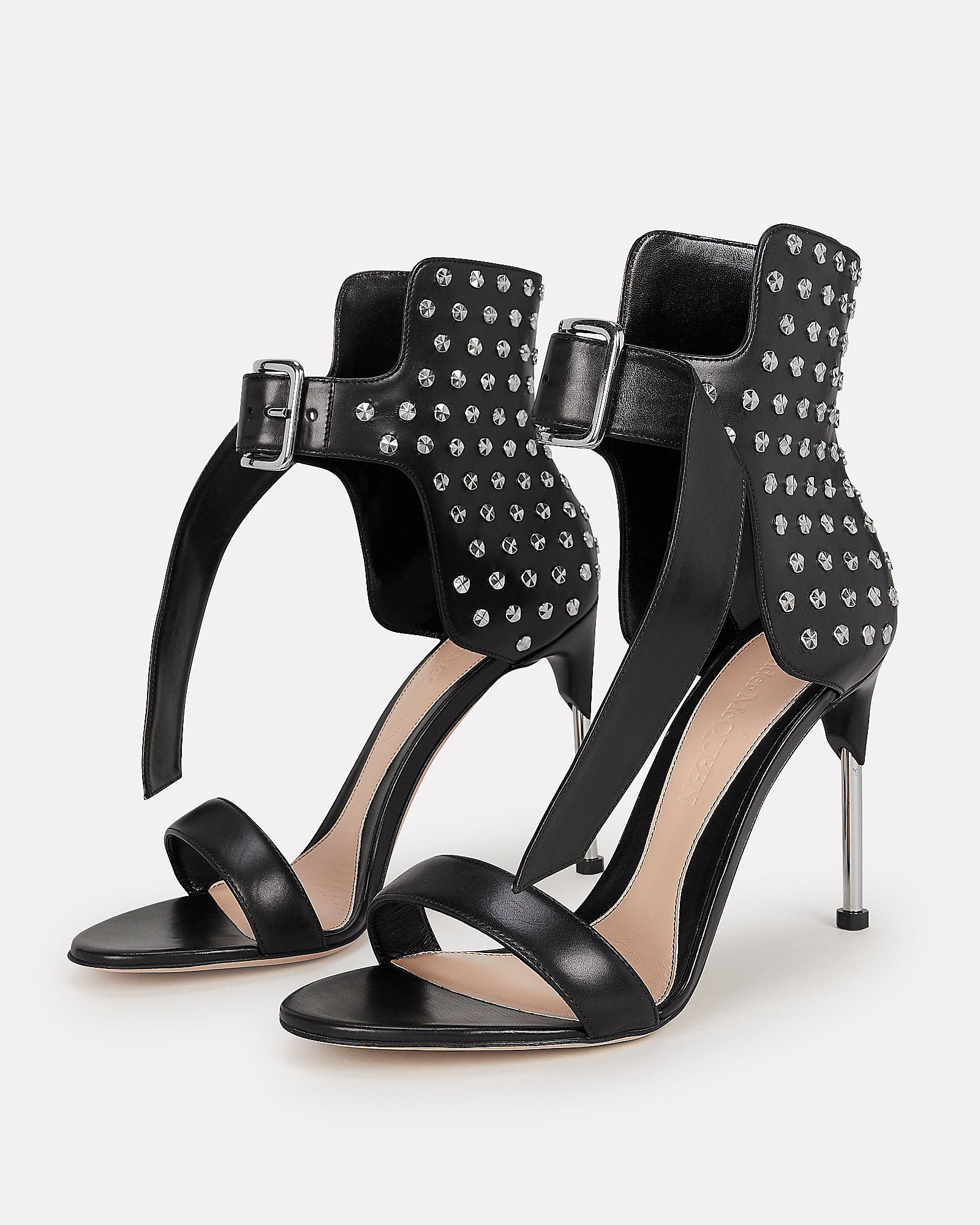 Studded Black Leather Sandals, BLACK, hi-res