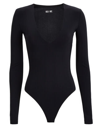 Irving V-Neck Bodysuit, BLACK, hi-res
