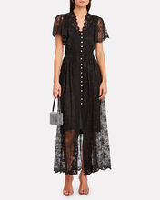 Crystal Button Lace Midi Dress, BLACK, hi-res