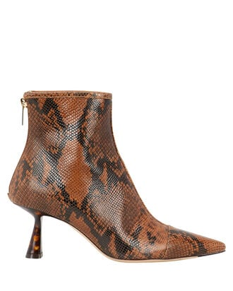 Kix Snakeskin-Printed Booties, BROWN, hi-res