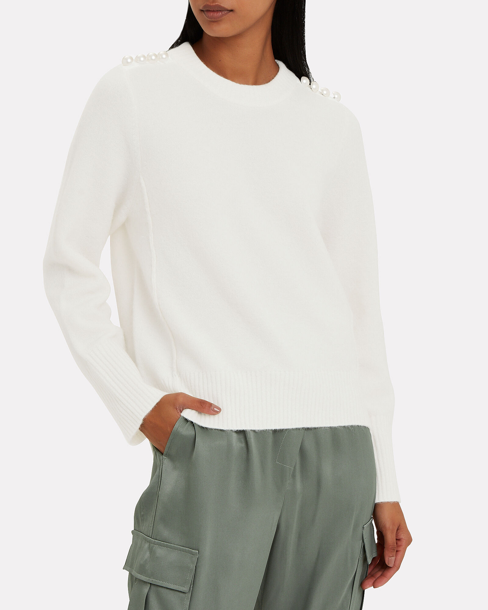 Lofty Pearl-Embellished Crewneck Sweater, IVORY, hi-res