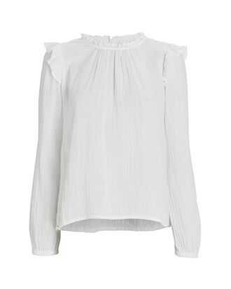 Lanie Ruffled Cotton Blouse, WHITE, hi-res