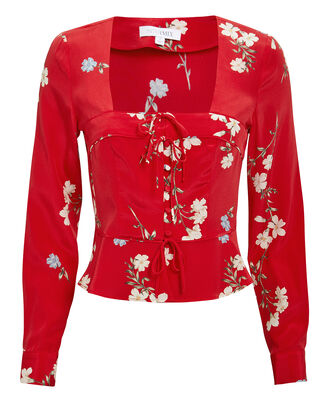 Pia Floral Blouse, RED/FLORAL, hi-res