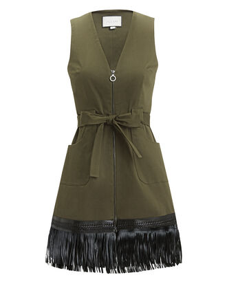 Lottie Fringe Hem Dress, OLIVE, hi-res