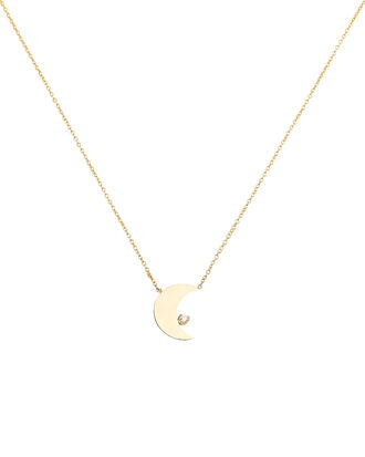 Crescent Moon Diamond Necklace, GOLD, hi-res
