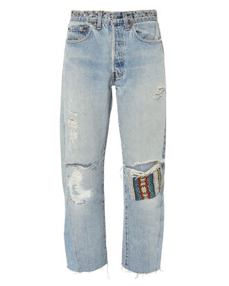Bowie Studded Cropped Jeans, DENIM-LT, hi-res