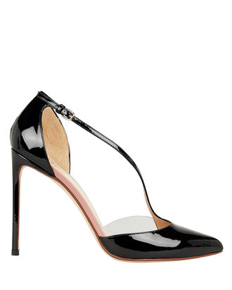 PVC Curved Strap Patent Leather Pumps, BLACK, hi-res