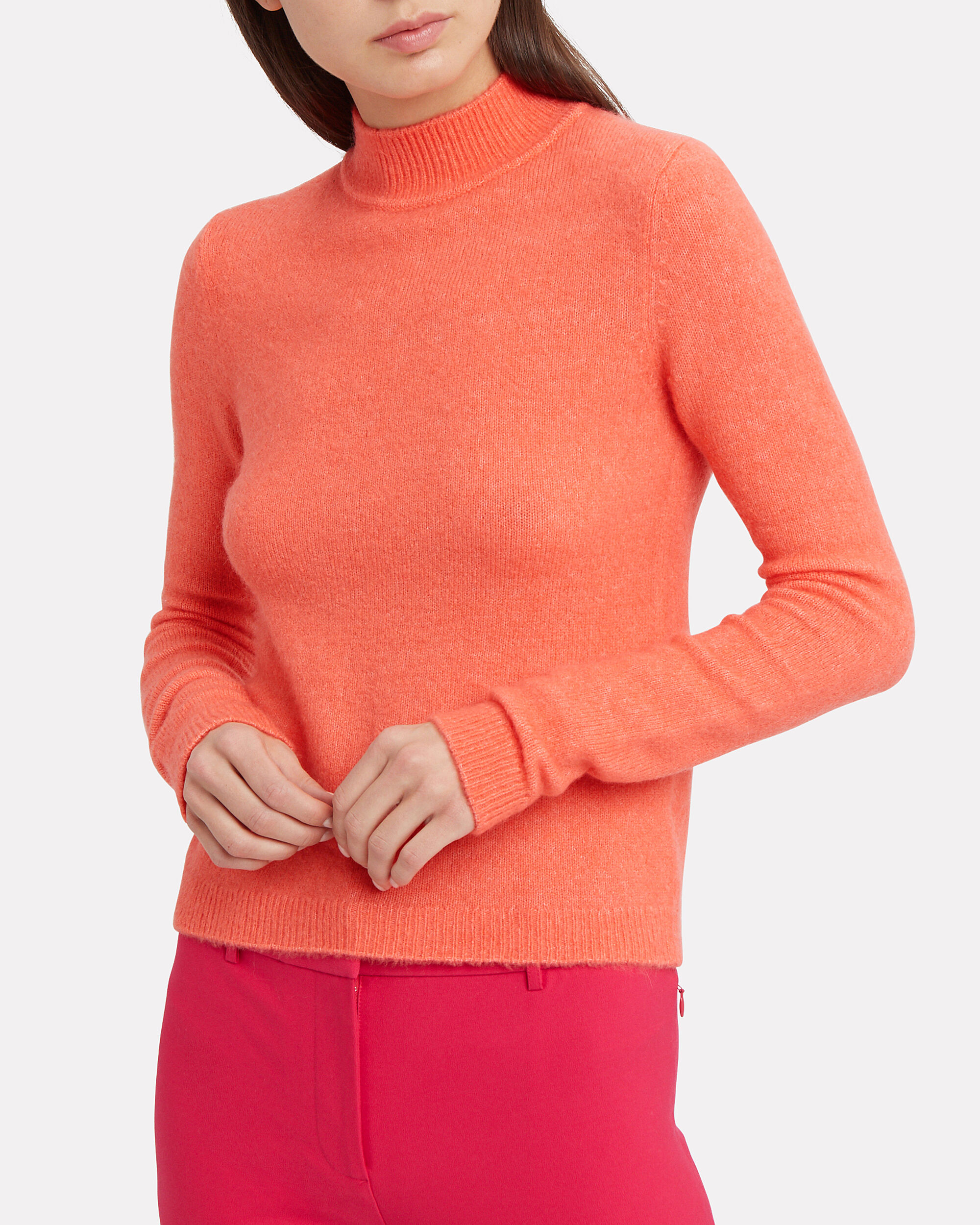 Evie Mock Neck Sweater, BRIGHT CORAL, hi-res