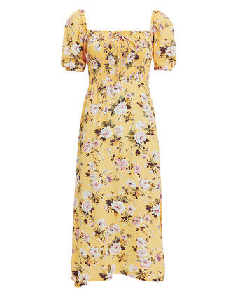 Majorelle Floral Smocked Dress, YELLOW/FLORAL, hi-res
