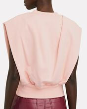 Padded Shoulder French Terry Top, BLUSH, hi-res