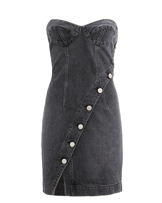 Claudia Onyx Dress, FADED BLACK DENIM, hi-res