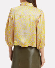 Heavy Satin Yellow Floral Blouse, YELLOW, hi-res