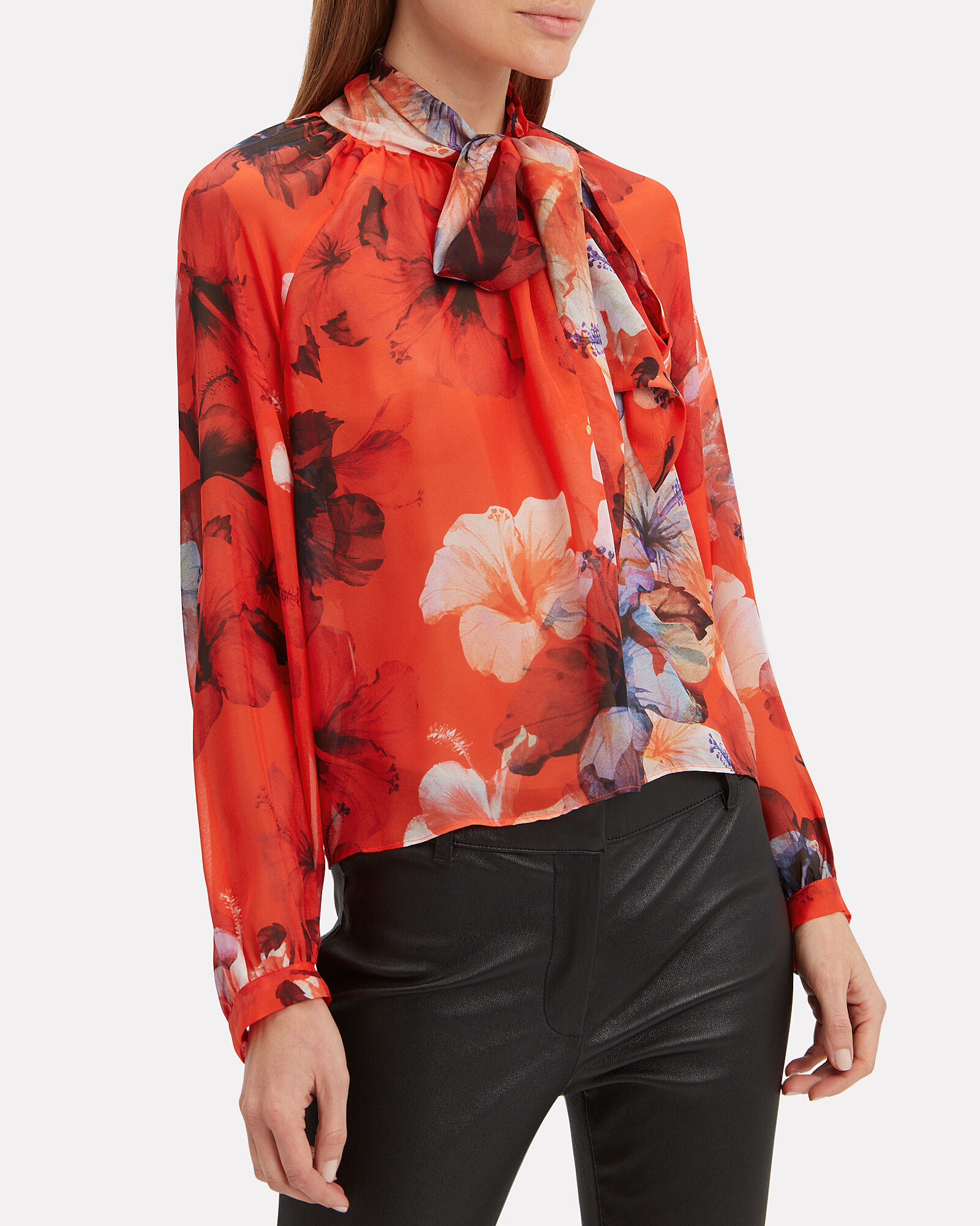 Floral Oversized Bow Detail Blouse, RED, hi-res