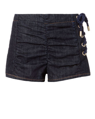 Lace-Up Ruched Denim Shorts, DENIM-DRK, hi-res