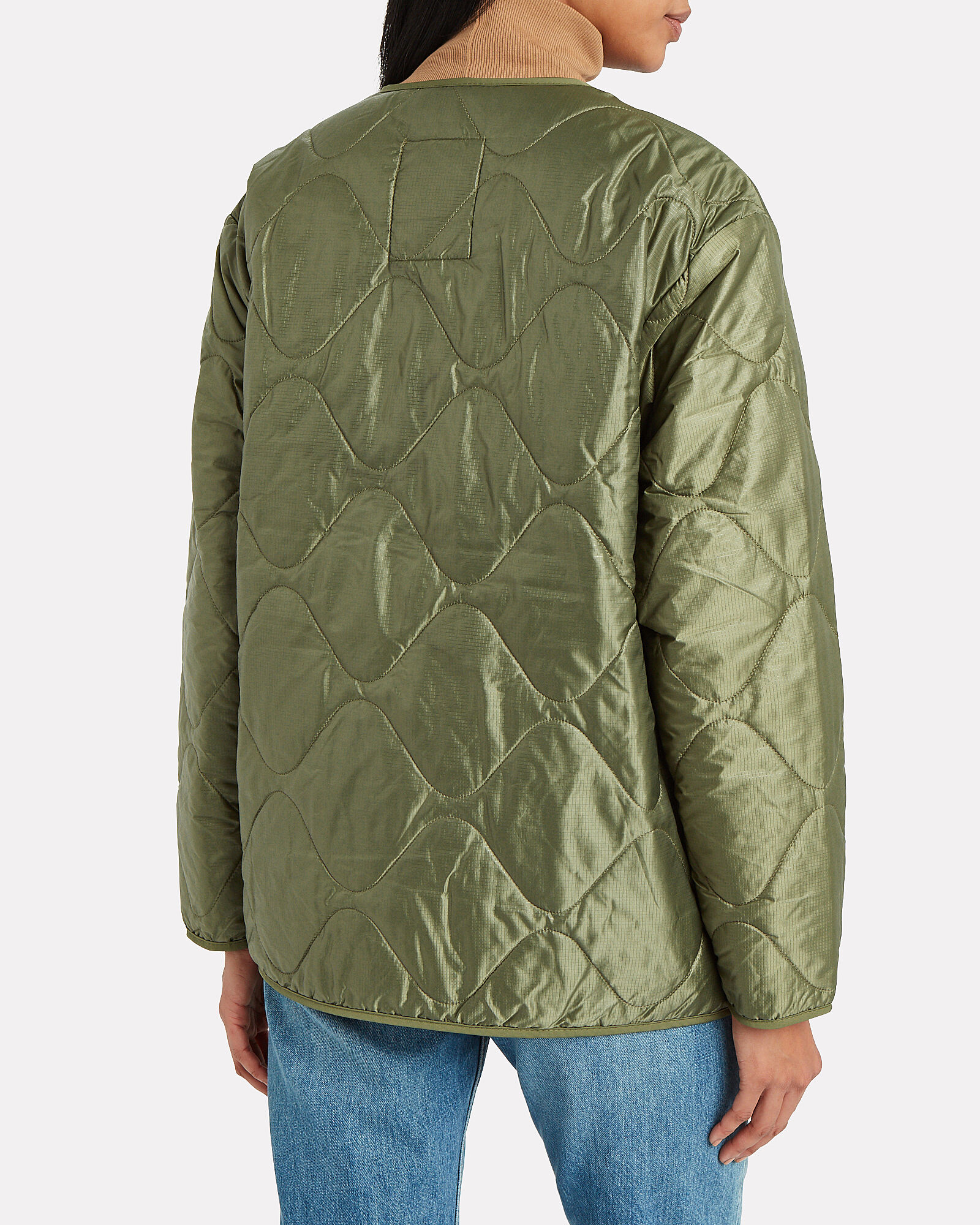 Andy Quilted Bomber Jacket, GREEN, hi-res