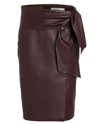AliahGZ Tie Waist Leather Skirt, BURGUNDY, hi-res