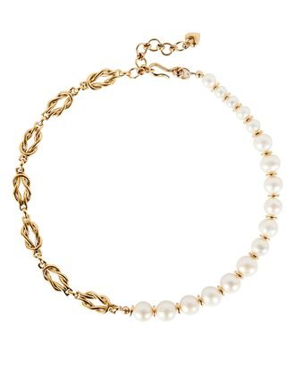 Spencer Pearl Chain-Link Necklace, GOLD, hi-res