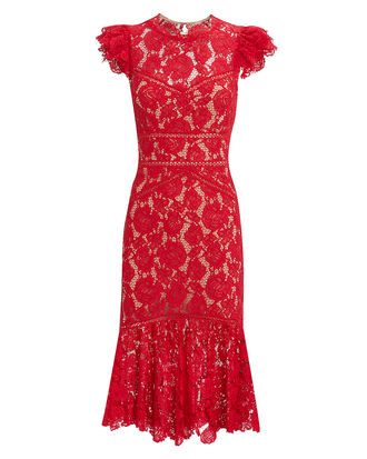 Maude Lace Midi Dress, RED, hi-res