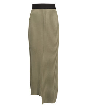 Suspension Ribbed Midi Skirt, OLIVE/BLACK, hi-res