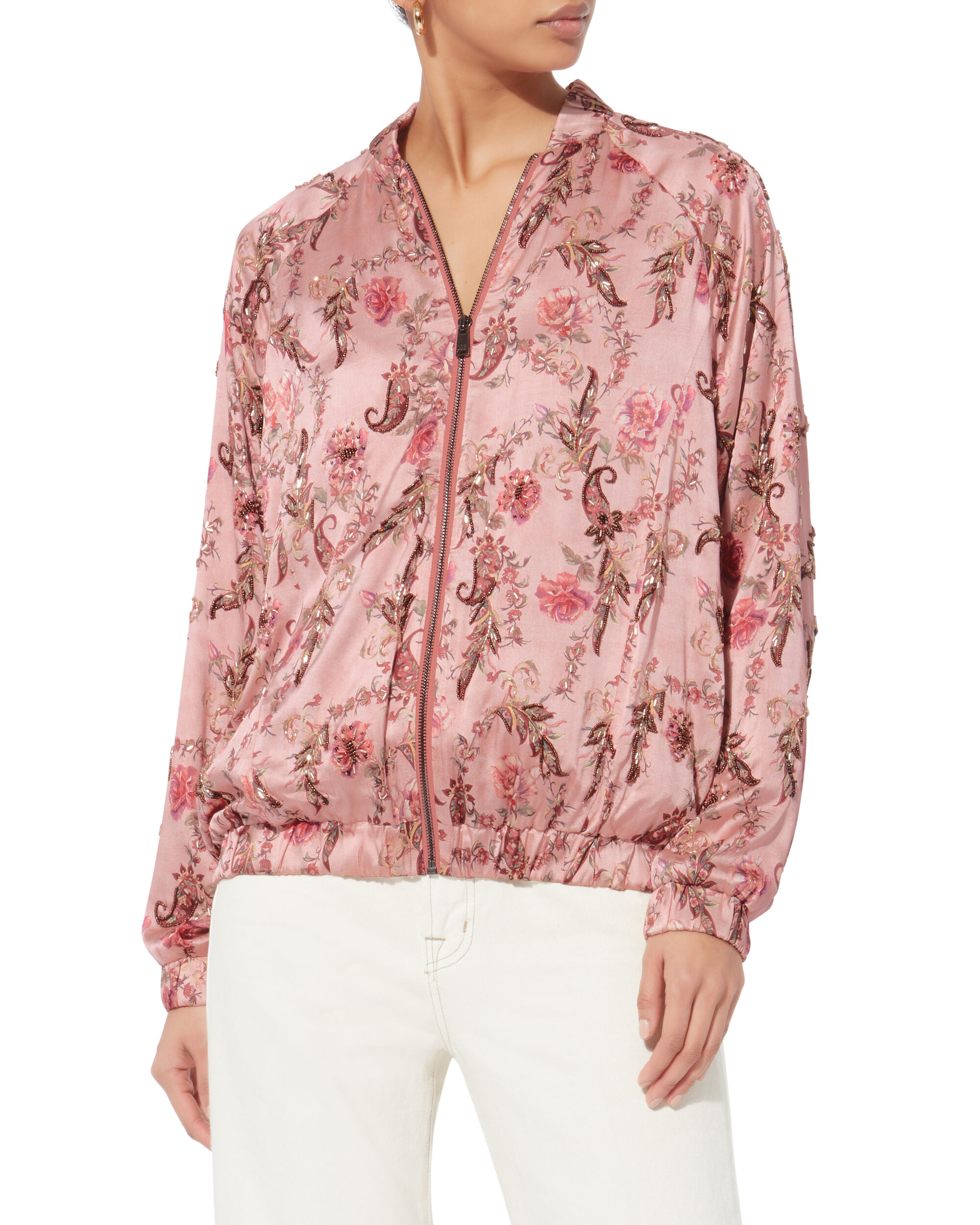 Clara Floral Bomber Jacket, RED, hi-res