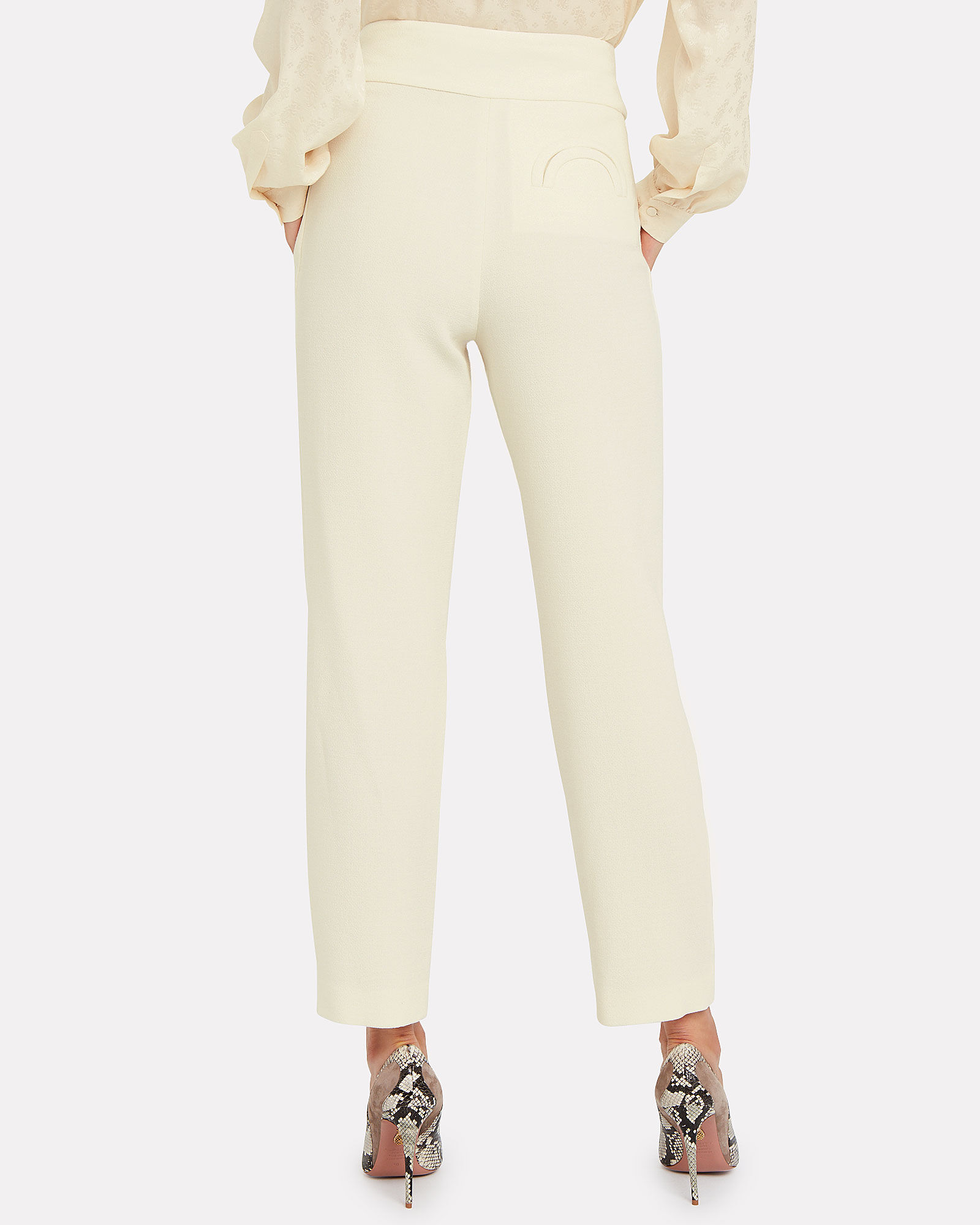 Basque Wool High-Rise Trousers, IVORY, hi-res