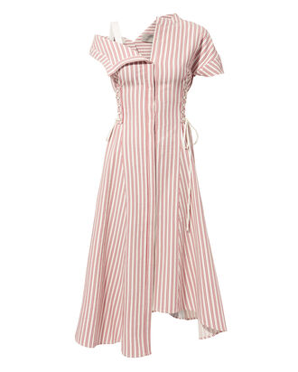 Asymmetrical Striped Poplin Dress, WHITE, hi-res