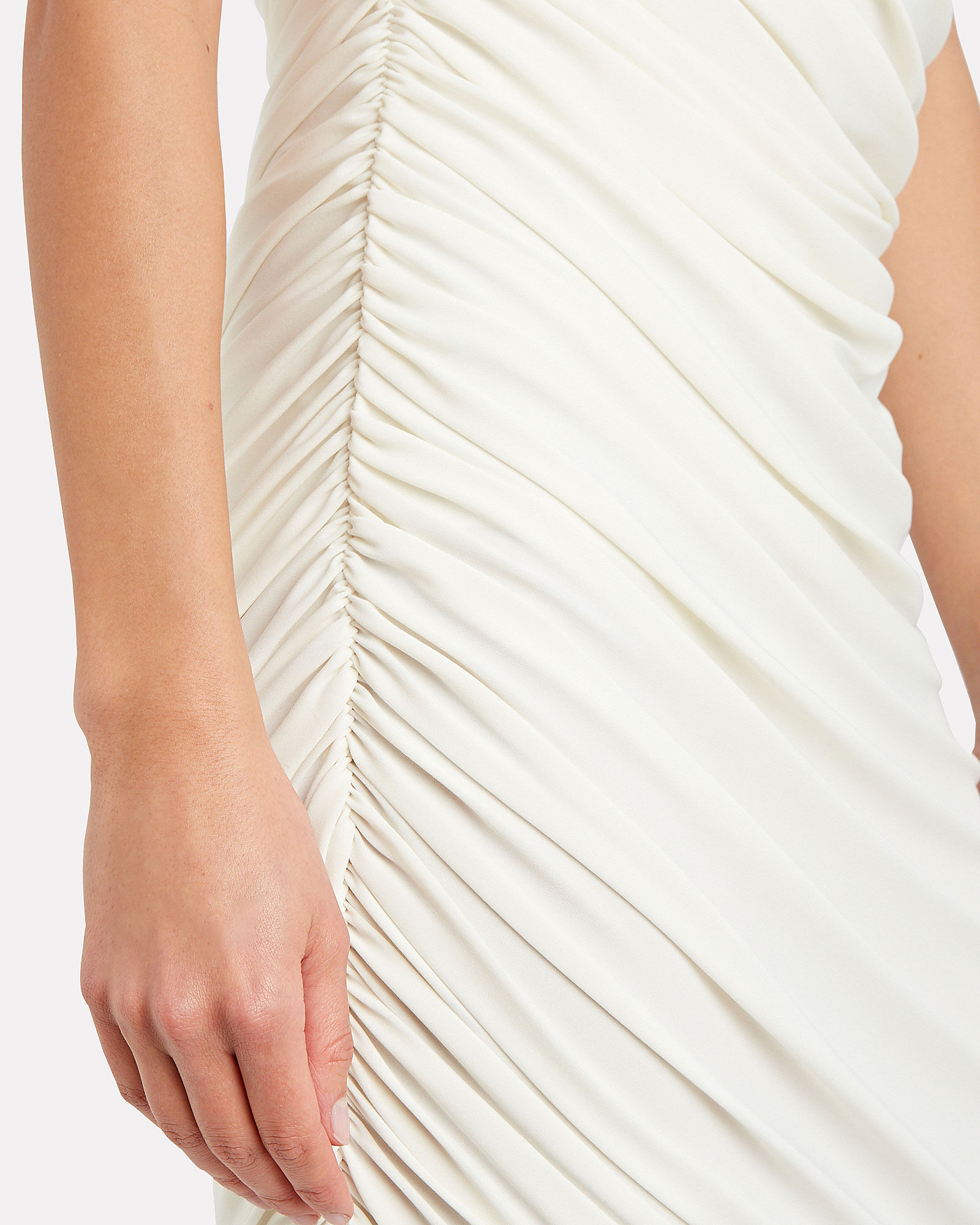 Diana Ruched One-Shoulder Dress, WHITE, hi-res