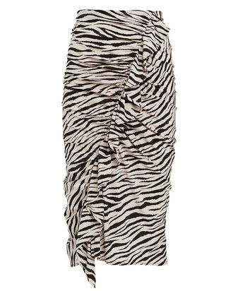 Metz Ruffled Zebra Print Skirt, MULTI, hi-res