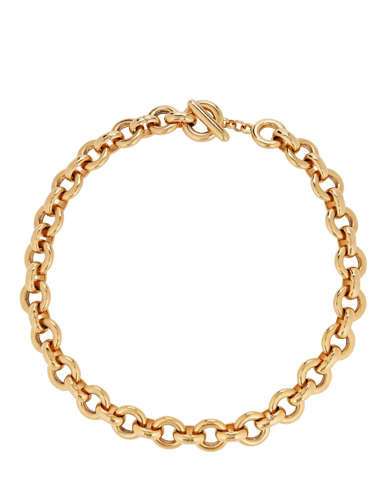Circle Chain-Link Necklace, GOLD, hi-res