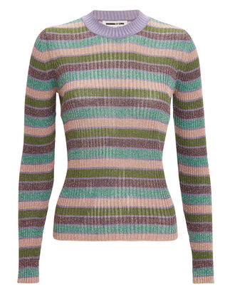 Metallic Striped Top, PURPLE/GREEN/STRIPE, hi-res