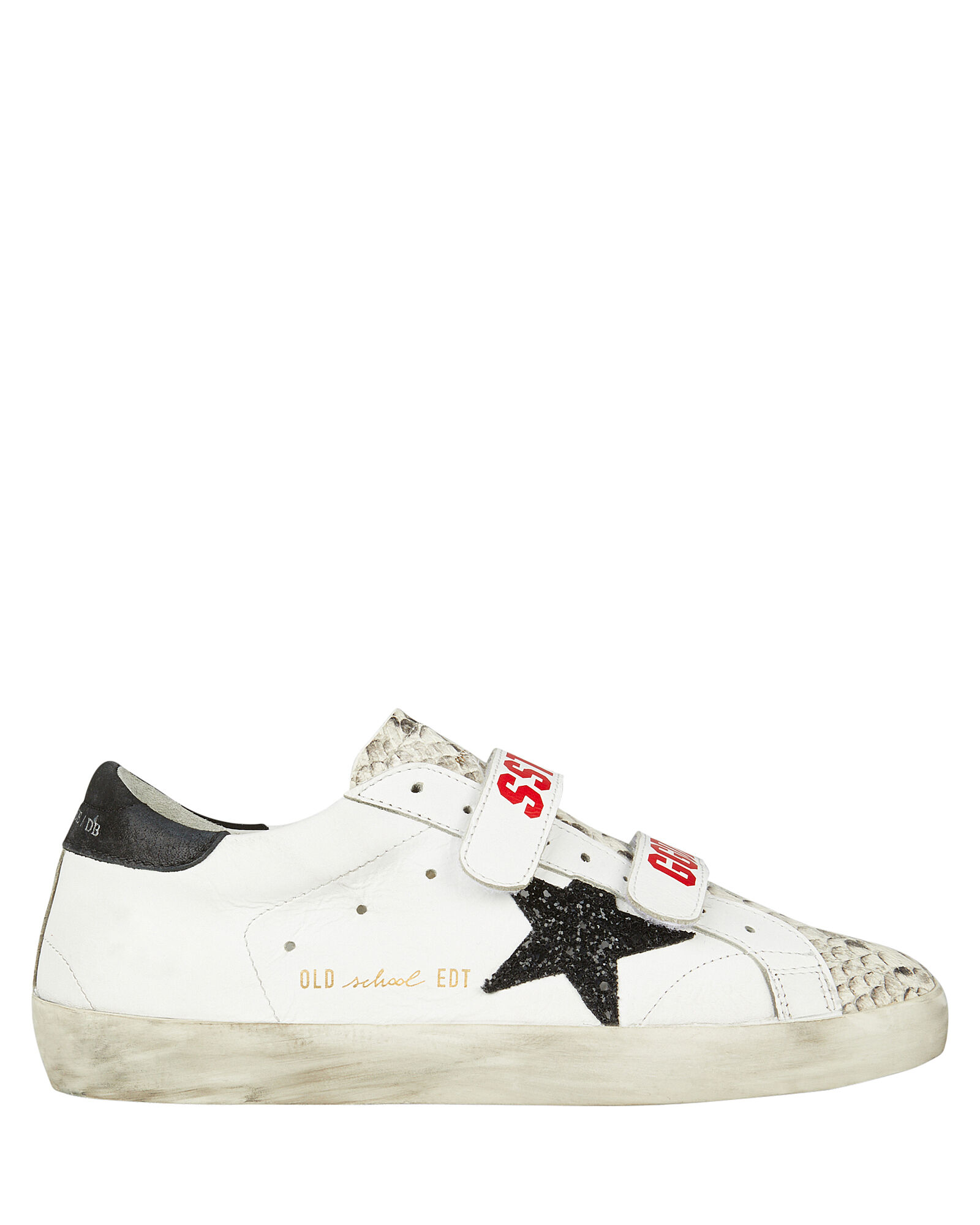 Old School Velcro Leather Sneakers, BLK/WHT, hi-res