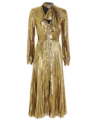 Macin Lamé Tie Neck Dress, METALLIC GOLD, hi-res