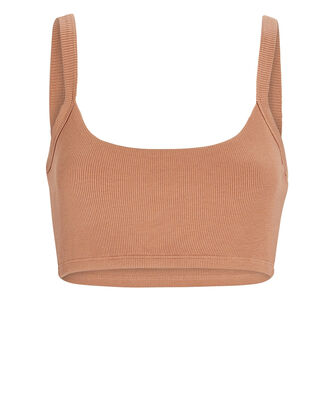 Rib Knit Bralette, BROWN, hi-res