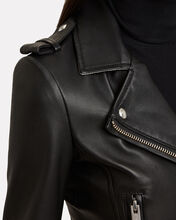 Dylan Cropped Contrast Collar Moto Jacket, BLACK/WHITE, hi-res