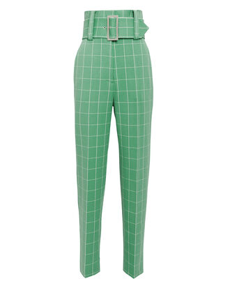 Green Wide Check Pants, GREEN/WHITE, hi-res