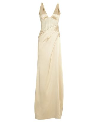 Maeve Draped Silk Satin Gown, IVORY, hi-res