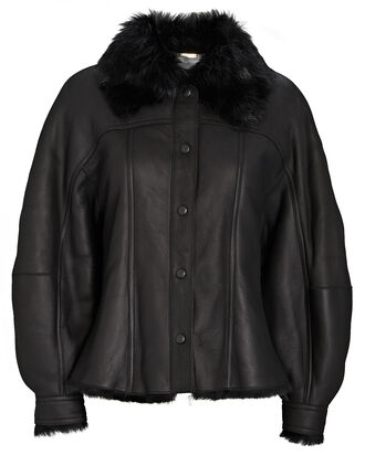 Leather Shearling-Trimmed Bomber Jacket, BLACK, hi-res