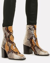 Lidia Snakeskin Embossed Booties, MULTI, hi-res
