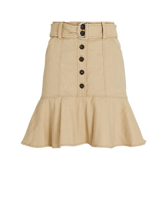 Miley Belted Button Down Mini Skirt, BEIGE, hi-res
