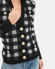 Buffalo Plaid Gold Button Cardigan, BLK/WHT, hi-res